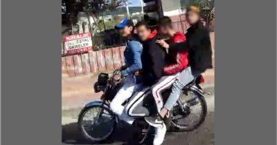 Dört kişi bir motorda (VİDEO)