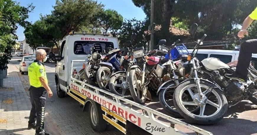 23 motosiklet trafikten men edildi