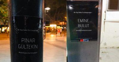 Öldürülen kadınların isimleri sokaklarda