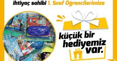 1'inci sınıf öğrencilerine belediyeden hediye
