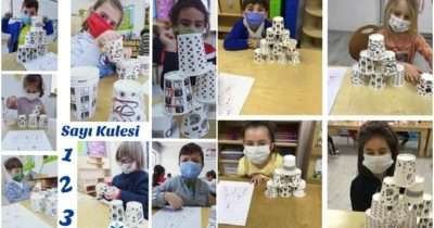Montessori ile sayı kulesi oyunu oynadılar