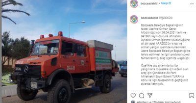 Bozcaada için itfaiye aracı tahsis edildi