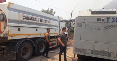 Çanakkale Belediyesi yangın yerine ulaştı