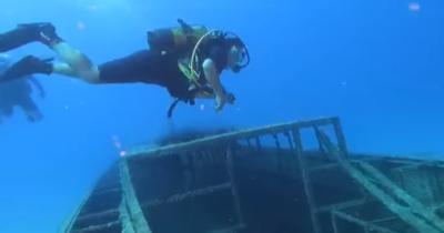 Denizin 30 metre altına daldı (videolu haber)